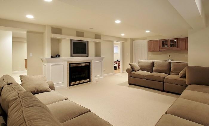 Hidden Lamps White Wall Cream Rug Brown Sofa Modern Fireplace