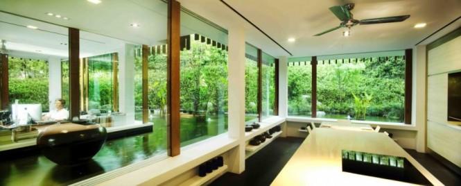 Hidden Lamps Wide Windows Black Floor Wooden Panes