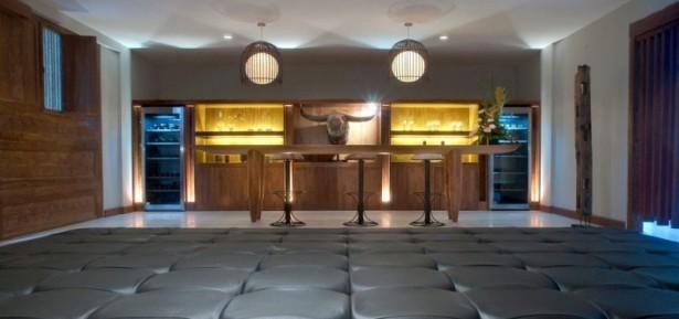 Hidden Lamps Wooden Bar Stools Wooden Wall White Floor