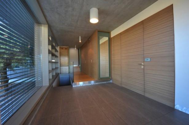 Hidden Lamps Wooden Door Grey Floor Glass Rails