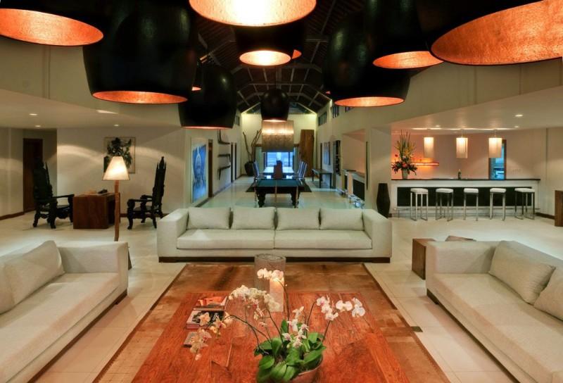 Hidden Lamps Wooden Floor White Sofa White Bar Stools