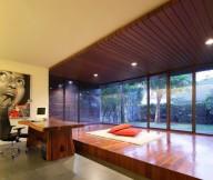 Hidden Lamps Wooden Floor Wooden Desk Black Swivel Chair
