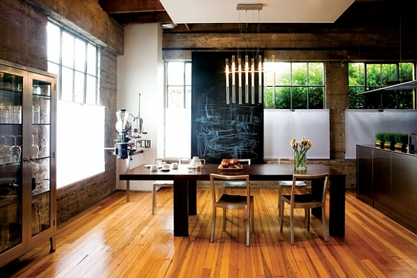 Highly-functional-dining-room-with-minimalist-furnishings wooden floor