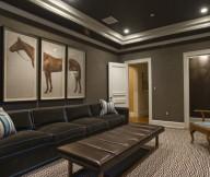 Horse Painting Grey Rug Black Sofa Grey Wall White Door