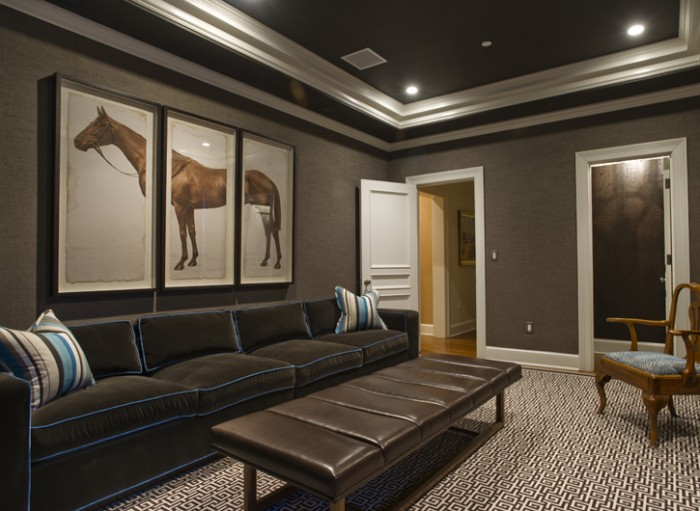 Horse Painting Grey Rug Black Sofa Wall White Door
