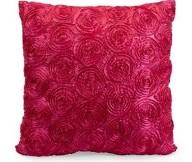 Hot Pink Color Round Geometri Motive Square Shape Satin Fabric