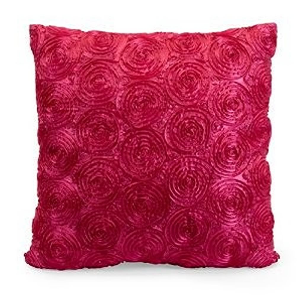 Hot Pink Color Round Geometri Motive Square Shape Satin Fabric