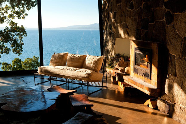 Iconic Antumalal Hotel cool living room with fireplace Hotel In Chile