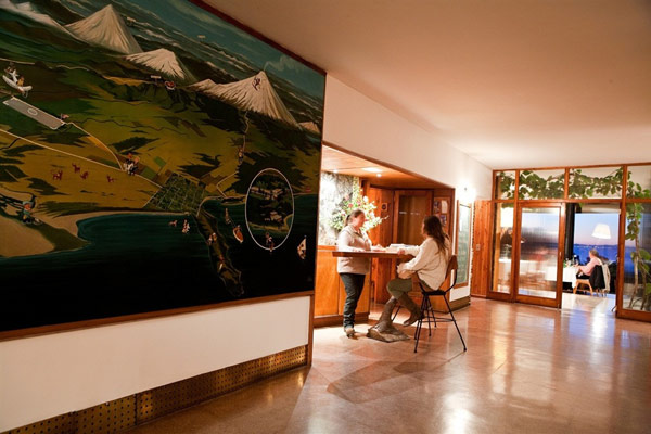 Iconic Antumalal Hotel reception-restaurant glossy floor Hotel In Chile