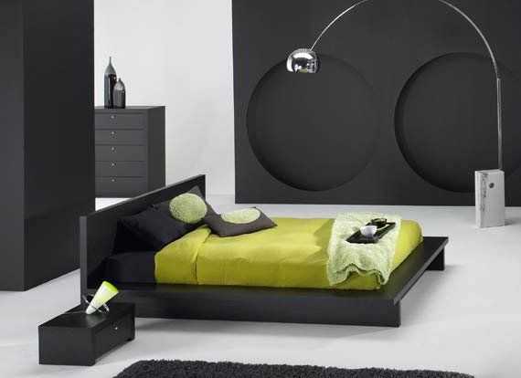 Incredible arch lamp Black low profile bed Circular shaped wall decoration