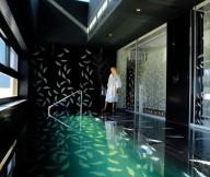Indoor Swimming Pool Black Leaf Wall Leaf Pattern Door Glass Luxurious Black Space