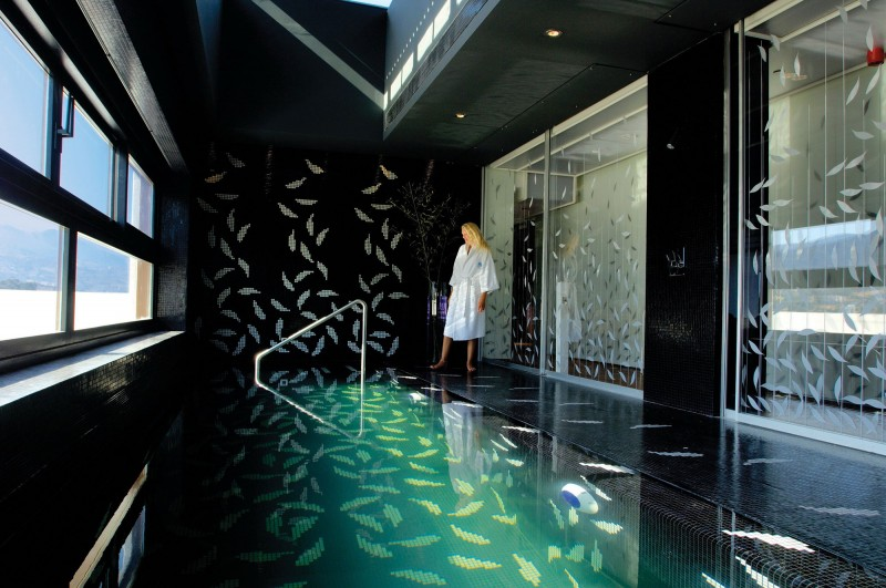Indoor Swimming Pool Black Leaf Wall Leaf Pattern Door Glass Luxurious Black Space