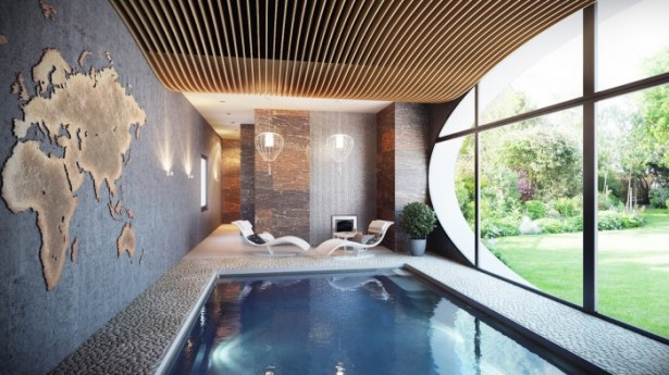 Indoor Swimming Pool Wide Windows White Stone Deck