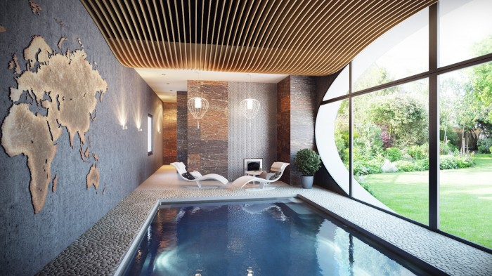 Indoor Swimming Pool Wide Windows White Stone Deck