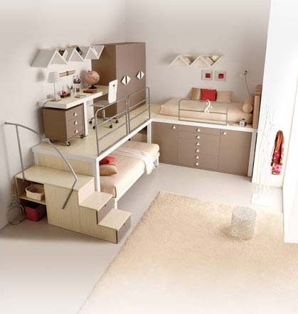 Innovative wall bars Calm kid bedroom Cream fur rug Soft loft bed