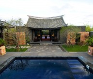 Inspiring-path-Unique-roof-Dark-backsplash-tile-pool-Ornamental-plants