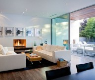 Inspiring wall decoration Box coffee table White  sofa Laminate flooring