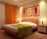 Inspiring-wall-decoration-Fascinating-table-lamps-Back-folded-headboard-Cool-orange-curtain