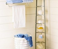 Instant Bathroom Shelves Steel Towel Handler Steel High Rack White Clothes Pail White Towel