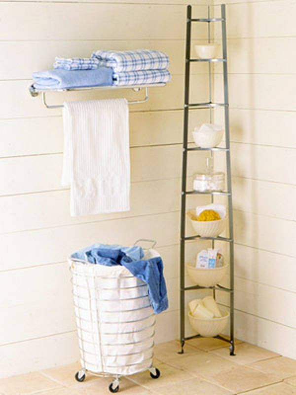 Instant Bathroom Shelves Steel Towel Handler Steel High Rack White Clothes Pail White Towel