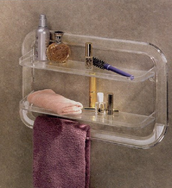 Instant Bathroom Shelves Transparent Towel Handler Purple Towel Orange Wash Lap