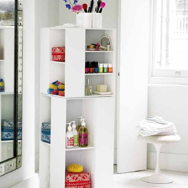 Instant Bathroom Shelves White Cube Shelves White Curtain WHite Chair Large Mirror