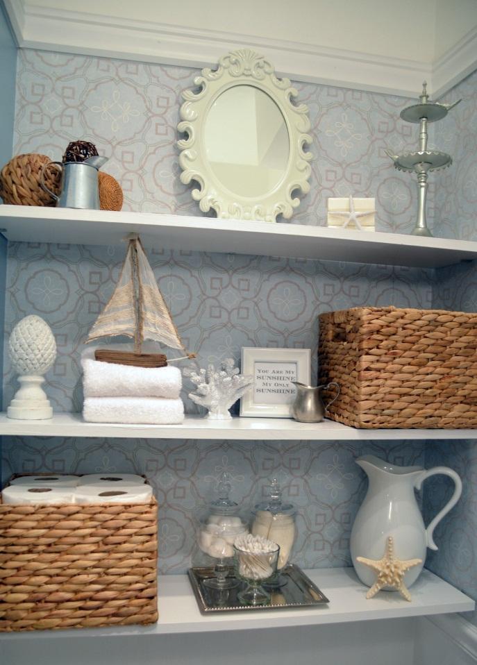 Instant Bathroom Shelves  White Shelves Blue Ornamented Wallpaper White Oranmented Mirror Rattant Boxes