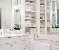 Instant Bathroom Shelves White Vanity Table WHite Bath Tub White Cabinets White Shelves LArge Mirror