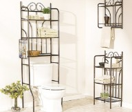 Instant Bathroom Shelves  White Water Closet Black Steeel Rack Steel Lower Rack Steel Upper Rack
