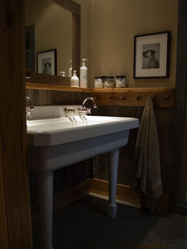 Instant Bathroom Shelves Wooden Shelves WHite Wash Basin Brown Towel Wooden Frame Mirror