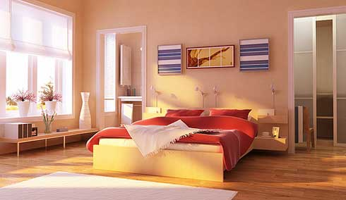 Interesting-pots-White-venetian-blind-Laminate-flooring-Modern-low-profile-bed