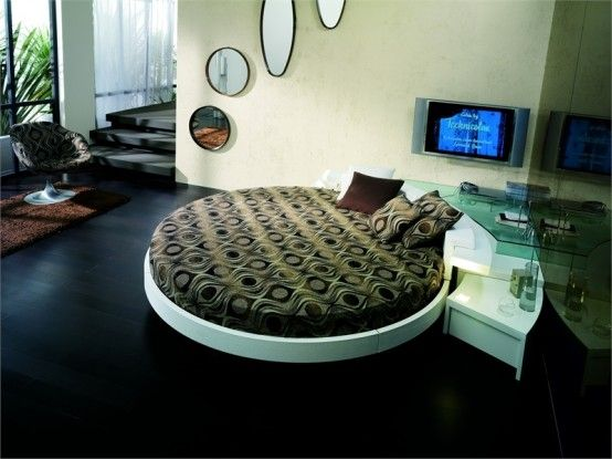 Italian Furniture Design Leather-Round-Beds-Black wooden floor Modern Leather Round Beds