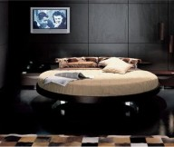 Italian Furniture Design Leather-Round-Beds-Dark theme Modern Leather Round Beds