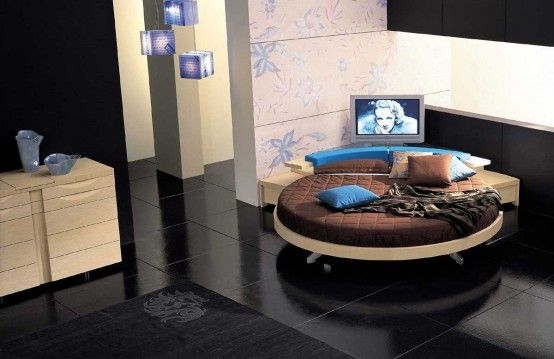 Italian Furniture Design Leather-Round-Beds black floor Modern Leather Round Beds
