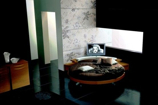 Italian Furniture Design Leather-Round-Beds black glossy floor Modern Leather Round Beds