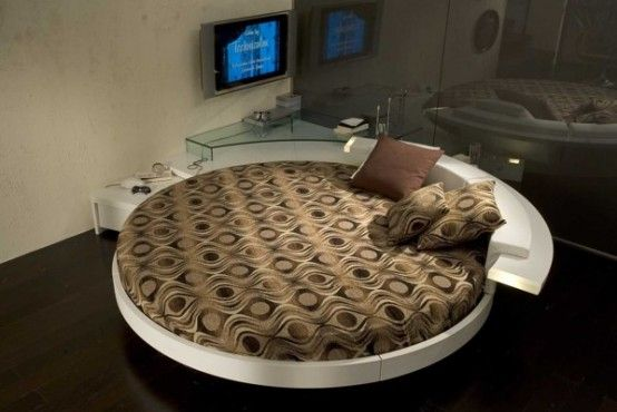 Italian Furniture Design Leather-Round-Beds brown theme Modern Leather Round Beds