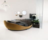 Italian Furniture Design Leather-Round-Beds-white flowers Modern Leather Round Beds