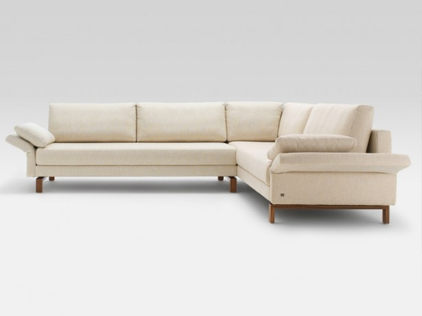 Ivory Color Sofa Minimalist Look Large Size Wooden Legs