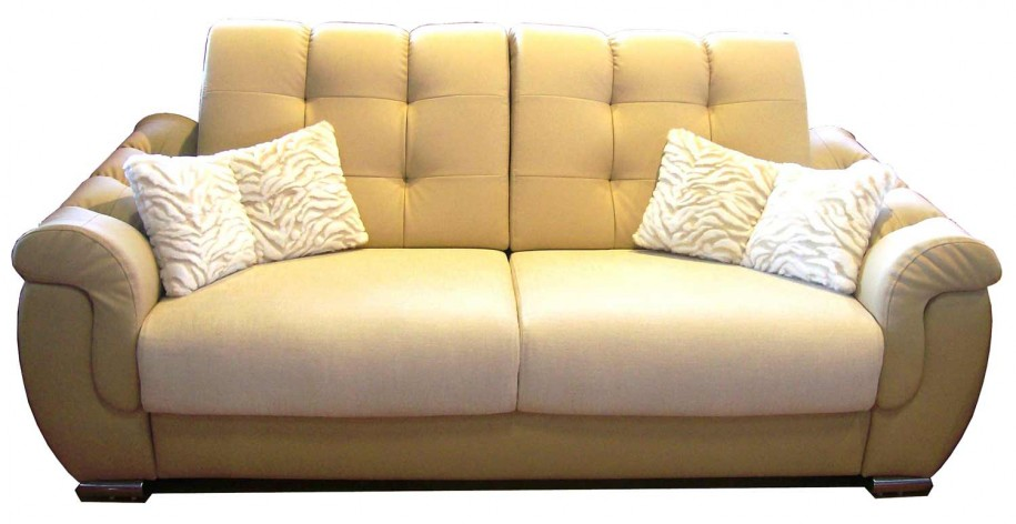 Ivory Color Sofa Two Seats White Cushions Minimalist Look