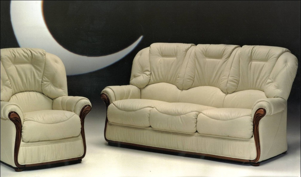 Ivory Color Sofa Wooden Hue Black Wall White Floor