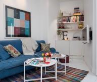 Jeans Sofa Stripes Rug Minimalist Bookshelf White FLoor