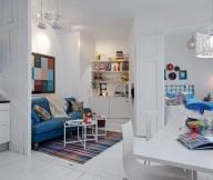 Jeans Sofa White Wall WHite Floor Stripes Rug