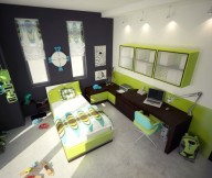 Kids Room Green Color Bedrooms grey wall brown wooden table