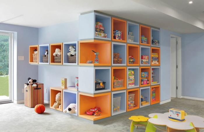 Kids Room Playful Color Wide Windows Blue Wall Grey Rug