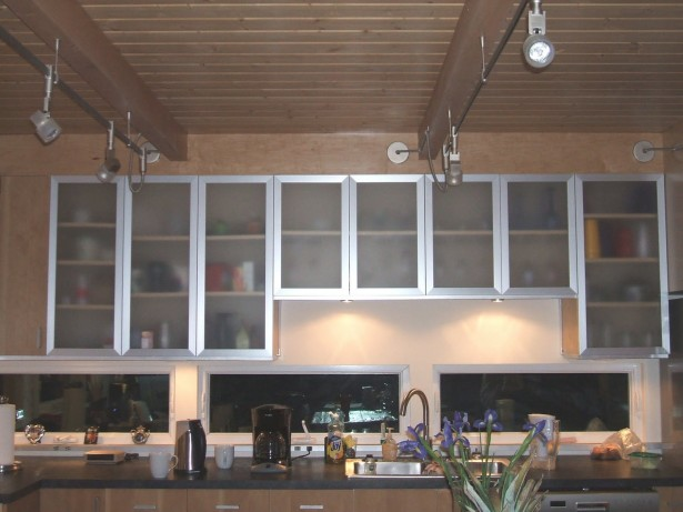 Kitchen Cupboard Doors Glass Doors Wooden Ceiling Cream Wall Black Glass Windows