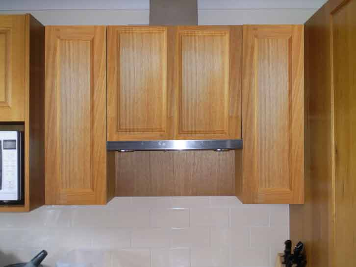 Kitchen Cupboard Doors Lght Brown Door Steel Chimney White Brick Backsplash