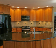 Kitchen Cupboards Ideas Brown Backsplash Black Fridge Brown Wooden Cabinets