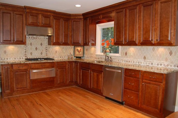 Kitchen Cupboards Ideas Brown Tiles Wooden Cabinets Cock Picture Orange Flower