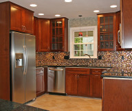 Kitchen Cupboards Ideas Granite Tile Design Wooden Cabinets Red Hanging Lamp
