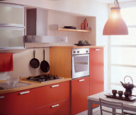 Kitchen Cupboards Ideas Red Cabinets Frosted Cabinet Doors Orange Lamp White Grey Dining Table